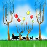 Svarta katter för parti royaltyfri illustrationer