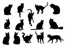 svarta kattgruppsilhouettes Arkivbilder