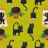 Svarta kattungar med gula ögon i olikt poserar bild vektor illustrationer