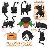 Svarta kattungar med gula ögon i olikt poserar bild stock illustrationer