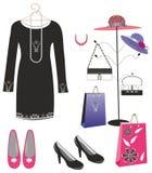 svarta klänninghandväskaskor Royaltyfria Bilder