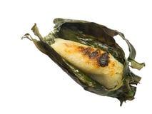 Svarta klibbiga ris med kokosnöten mjölkar och taroen En forntida efterrätt av Thailand Söt och läcker smak Gjort av klibbiga ris Arkivfoton