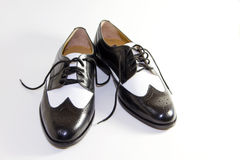 svarta klänninglädermän retro s shoes white Fotografering för Bildbyråer