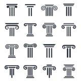 Svarta kolonnsymboler Arkivfoto
