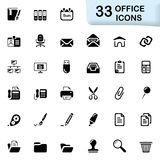 33 svarta kontorssymboler Royaltyfri Foto
