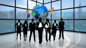 Svarta konturer av affärsfolk stock illustrationer
