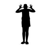 Svarta konturer av en förlöjligaflicka som isoleras på vit bakgrund Royaltyfri Foto