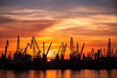 Svarta konturer av kranar och lastfartyg i port Royaltyfri Fotografi