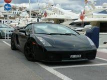 Svarta konvertibla Lamborghini Arkivbilder