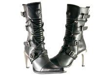 svarta kvinnliga moderna skor Royaltyfri Fotografi