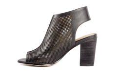 Svarta läderklänningsandaler #3 Fotografering för Bildbyråer