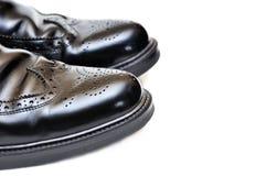svarta lädermän parar skor Royaltyfri Fotografi