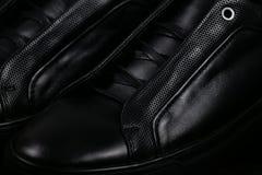 svarta läderskor Royaltyfri Fotografi