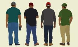 Svarta män från baksidan Fotografering för Bildbyråer