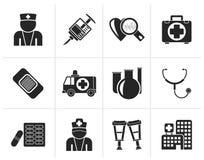 Svarta medicin- och sjukvårdsymboler vektor illustrationer