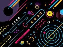 Svarta Memphis Modern Background Colorfull och unikt vektor illustrationer