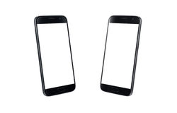 Svarta moderna ilar isometrisk sikt för telefon Vit skärm för modell som isoleras Royaltyfria Bilder