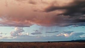 Svarta moln för regnet på fältet fotografering för bildbyråer