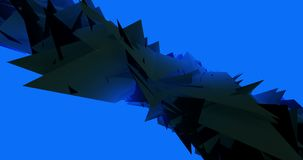 Svarta Morphing trianglar Pulsationg på det blåa gemet för video för animering för bakgrundsformer 4k