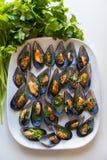 Svarta musslor med vitlök och persilja Fotografering för Bildbyråer