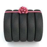 Svarta nya gummihjul med rosa färgpilbågen 3d Arkivfoto
