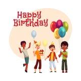 Svarta och Caucasian pojkar, ungar med ballonger, födelsedaghattar, gåvor stock illustrationer