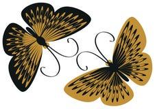 Svarta och gula fjärilar Royaltyfri Foto