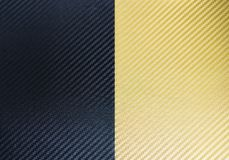 Svarta och guld- kolfibertexturer stock illustrationer