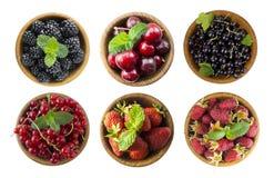 Svarta och röda bär som isoleras på vit För körsbär, röda och svarta vinbär för björnbär, för hallon, Collage av olika frukter Royaltyfria Foton