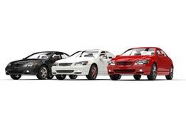 Svarta och röda bilar för vit Royaltyfria Foton