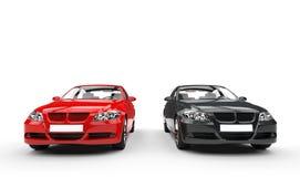 Svarta och röda bilar - främre sikt Royaltyfria Foton