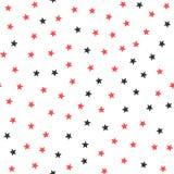 Svarta och röda stjärnor på vit bakgrund seamless modell royaltyfri illustrationer