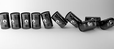 Svarta olje- trummor som isoleras på vit bakgrund Royaltyfri Foto