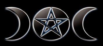 svarta paganfaser för moon o Arkivfoton
