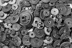 Svarta plast-kugghjul och kugghjul Arkivbild