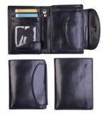 Svarta plånböcker som isoleras på vit Arkivbild