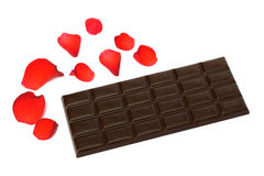 svarta porösa chokladpetals steg Arkivbilder