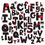 Svarta röda bokstäver för kritablyertspennaalfabet Hand dragit skriftligt Arkivbilder
