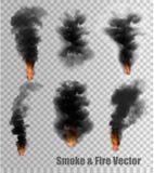 Svarta rök- och brandvektorer på genomskinlig bakgrund royaltyfri illustrationer
