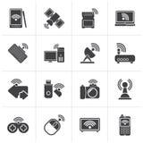 Svarta radio- och kommunikationssymboler royaltyfri illustrationer