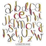 Svarta rosa guld- färgrika färgpulveralfabetbokstäver Hand dragit skriftligt Arkivfoton
