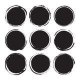 Svarta rundaabstrakt begreppbakgrunder suddar vektorobjekt som isoleras på en vit bakgrund Grunge former Cirkelramar Arkivfoto