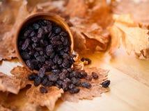Svarta russin i en träbunke På det torra bladet och brun träbac Arkivfoton
