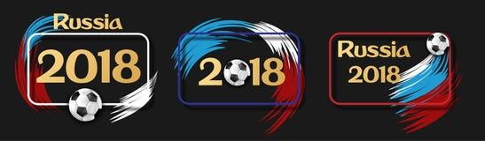 Svarta Ryssland fotbolletiketter 2018 med fotbollbollen Arkivfoto