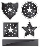 svarta satängstjärnor stock illustrationer