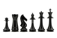 Svarta schackstycken som isoleras på vit bakgrund Royaltyfri Bild