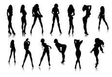 svarta sexiga flickasymboler stock illustrationer