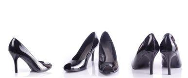 svarta sexiga skor Fotografering för Bildbyråer