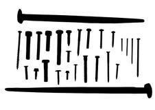 Svarta silhouettes av piggar och spikar. Arkivbilder