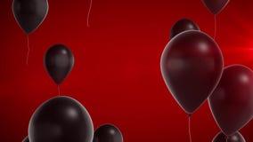 Svarta skinande ballonger på en röd bakgrund